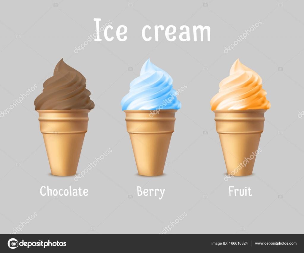 Anuncio de productos de helados. Vector ilustración 3d. Diseño de ...