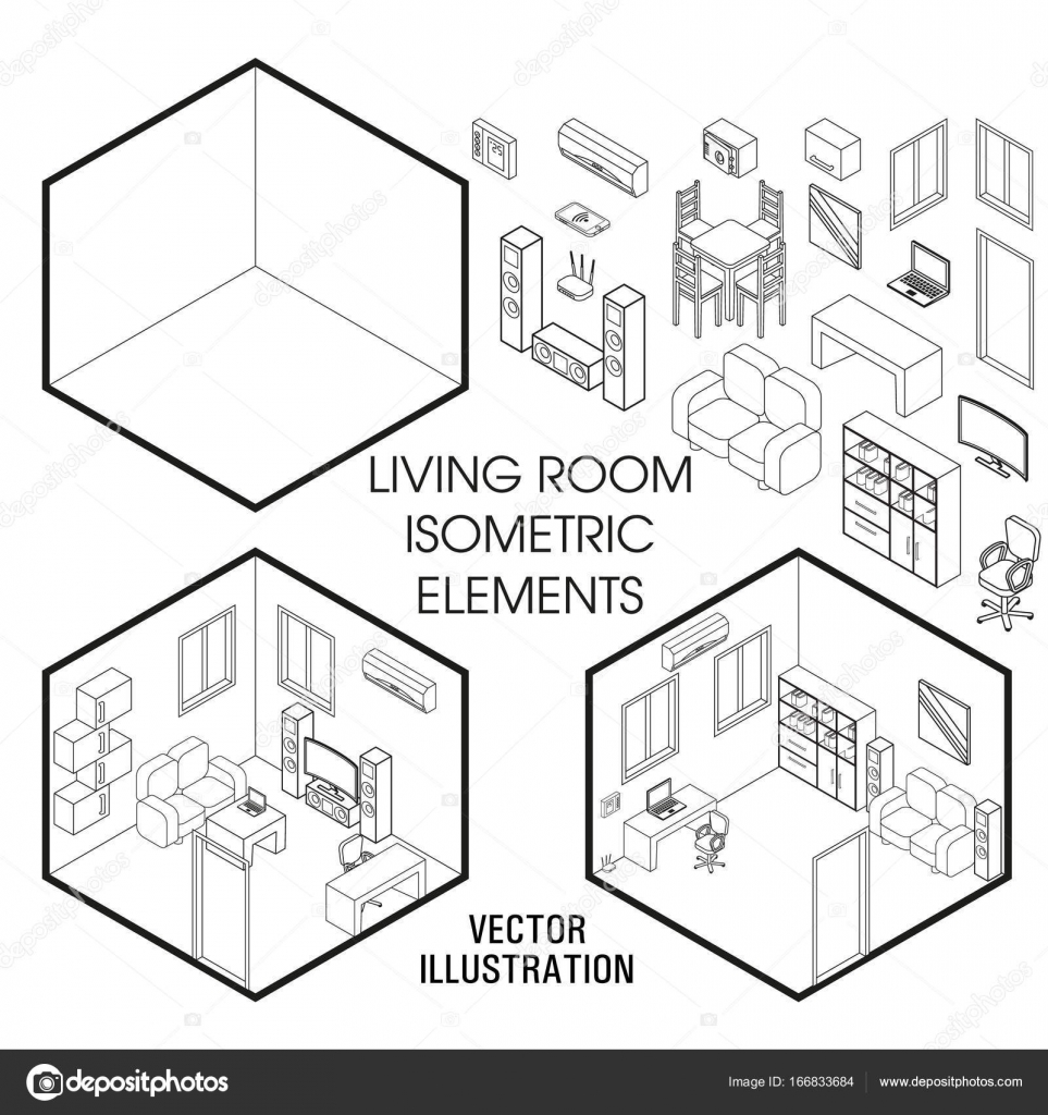 isometric living room interior constructor vector set of isometric