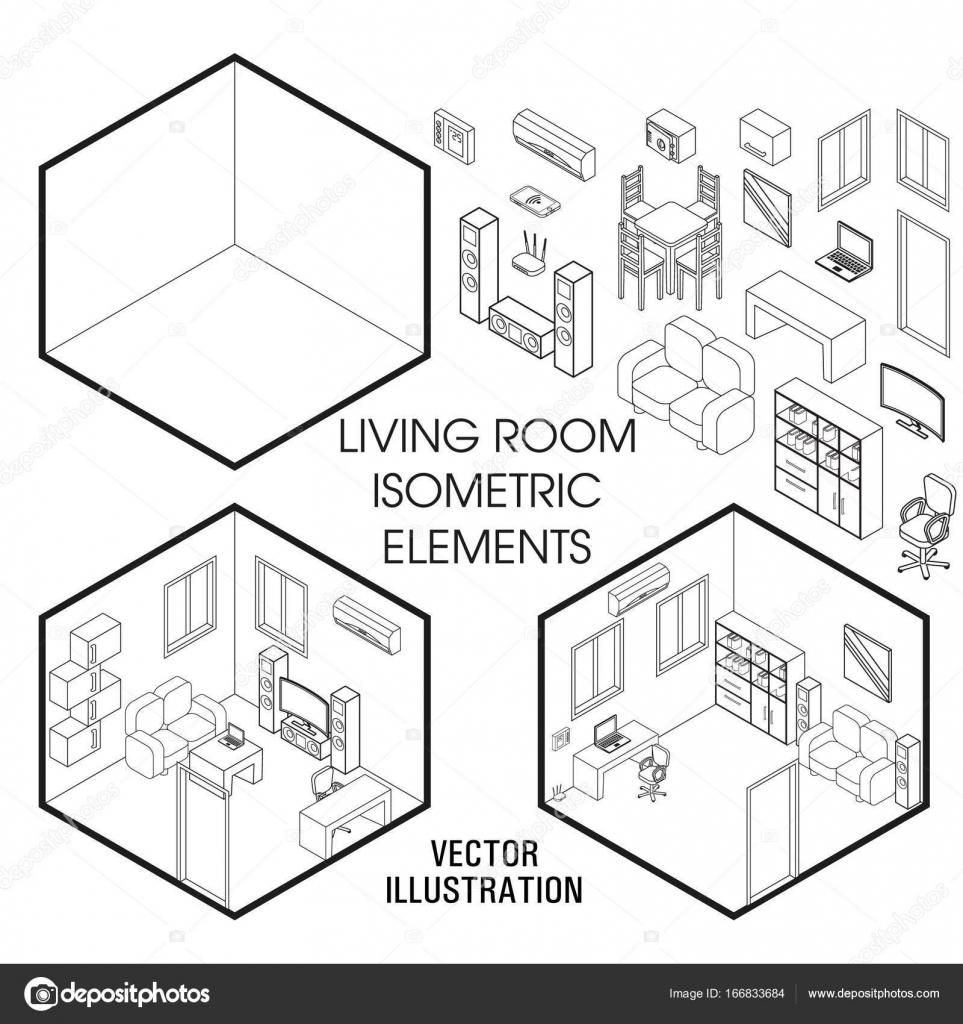 Isometrische Wohnzimmer Interieur Konstruktor. Vector set ...