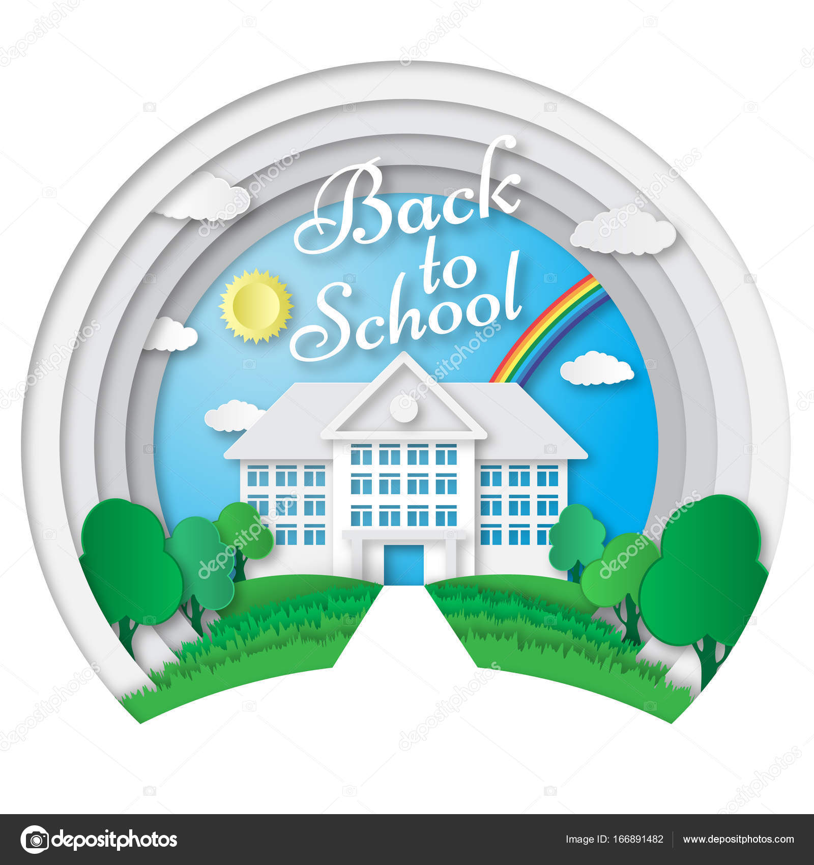 Vector Set Of Back To School Banners In Origami Paper Art Style Poster With Building Bus Nature Background Text Signs