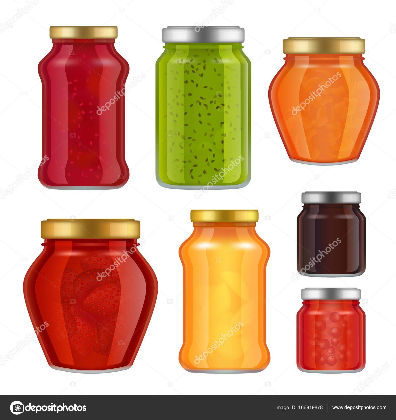 Conjunto de iconos de vector realista fruta mermelada frasco ...