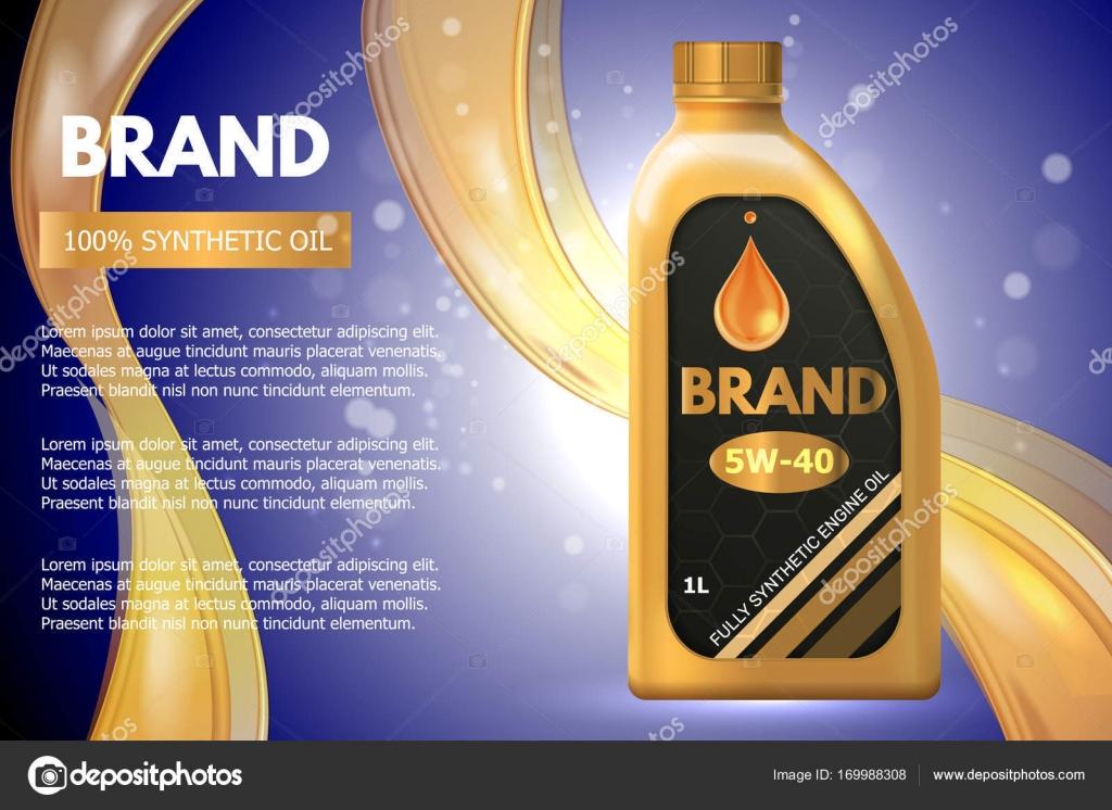 Anuncio de envase de producto de aceite de motor. Vector ilustración ...