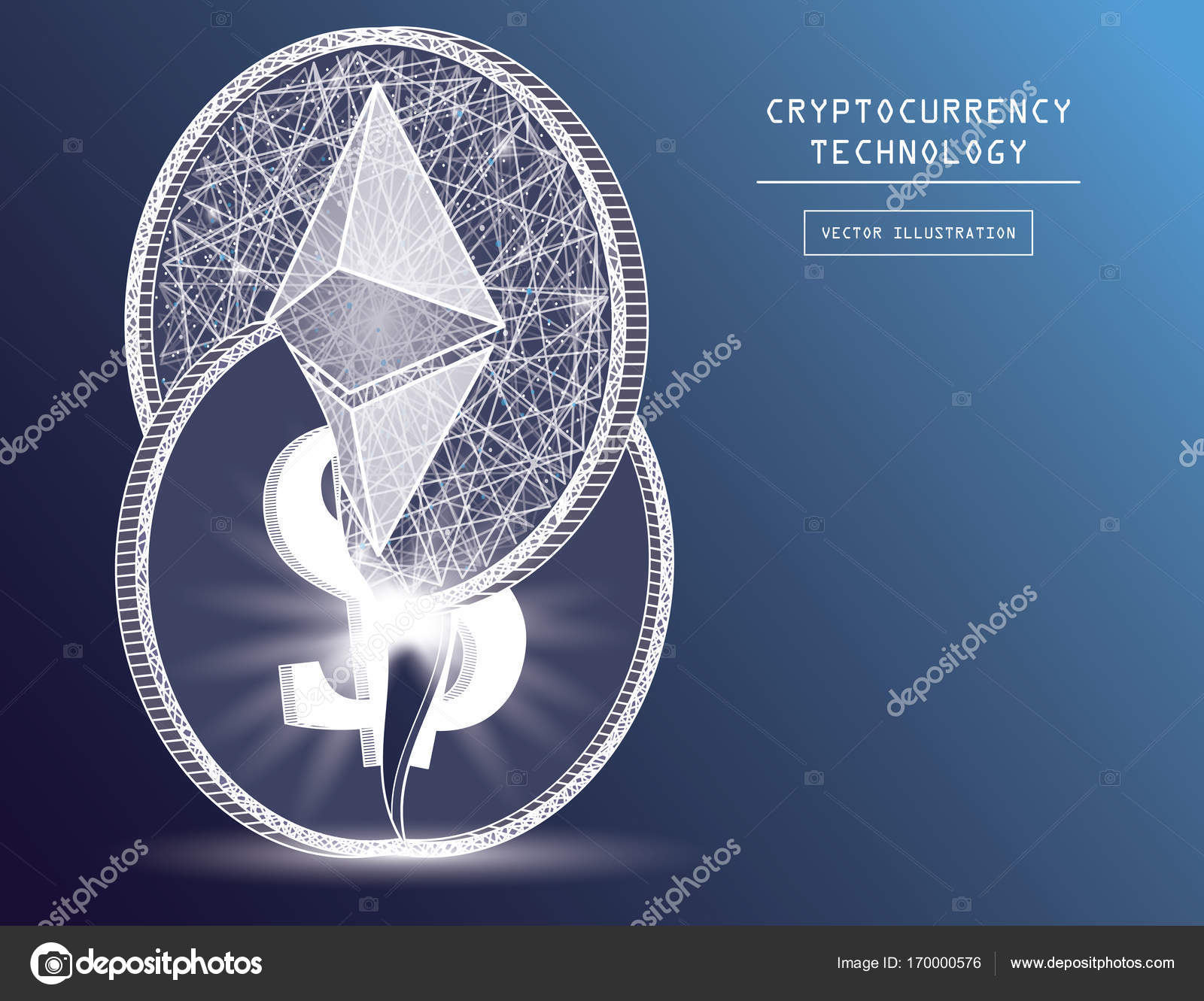 Ethereum digital currency coin damage world finance system based on ethereum digital currency coin damage world finance system based on dollar concept vector illustration crypto buycottarizona Gallery