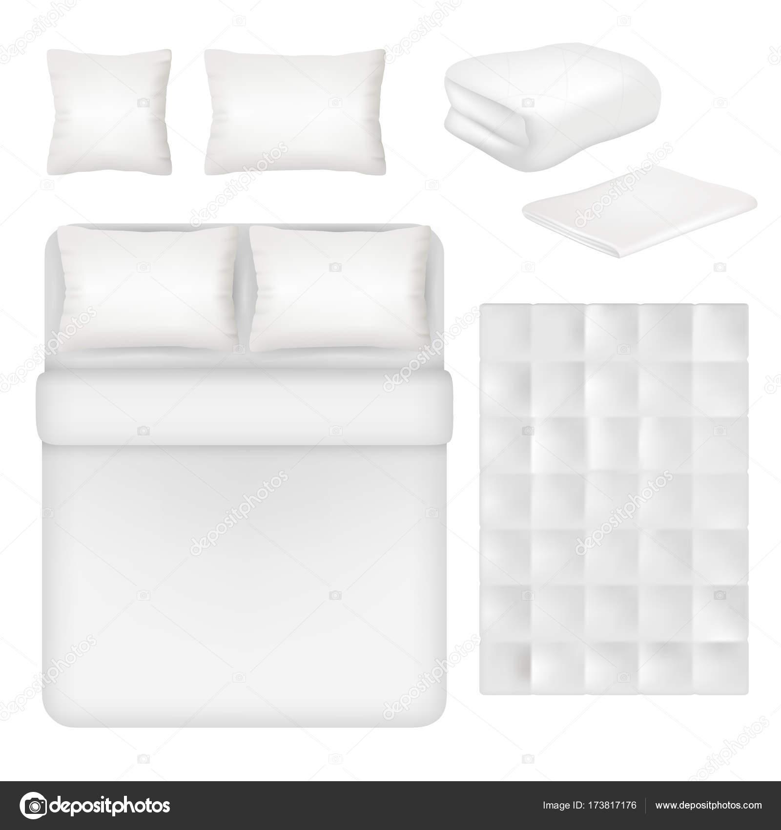 Conjunto de plantilla realista vector blanco ropa de cama en blanco ...