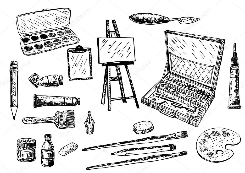Vector ink hand drawn painting tools and accessories set