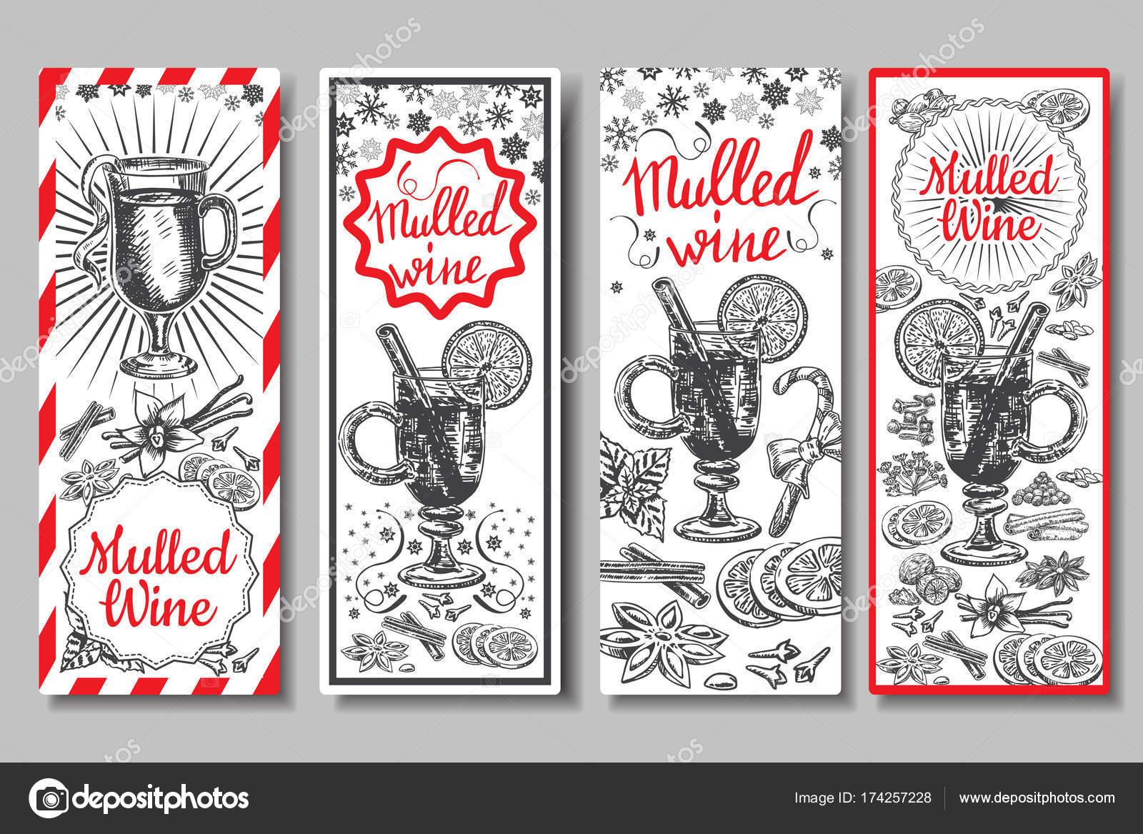 Die Hand gezeichnete Glühwein Wein Vektor-Banner-Set. Schwarz / weiß ...