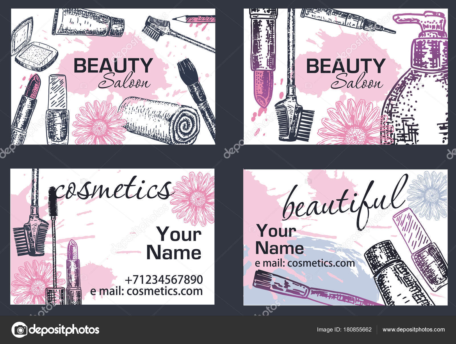 Beauty salon business card vector hand drawn illustration stock beauty salon business card vector hand drawn illustration stock vector reheart Choice Image