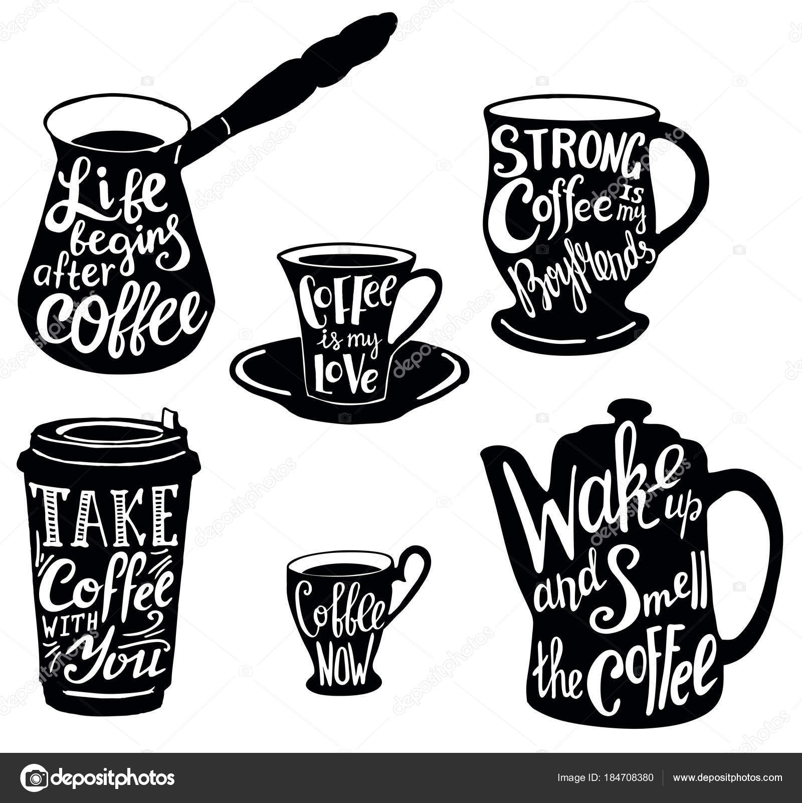 Vector Cute Coffee Quotes And Sayings Typography Set Stock Vector