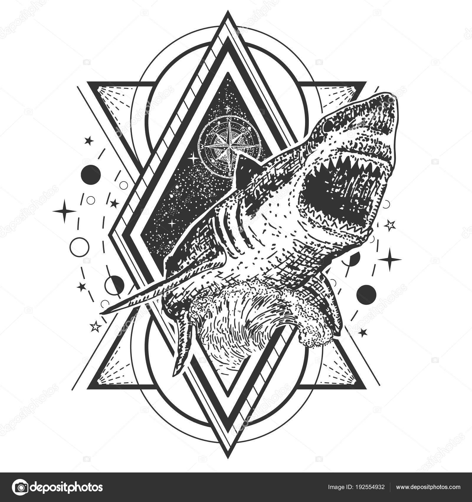 Vektor geometrische Hai Tattoo oder T-shirt print-design ...