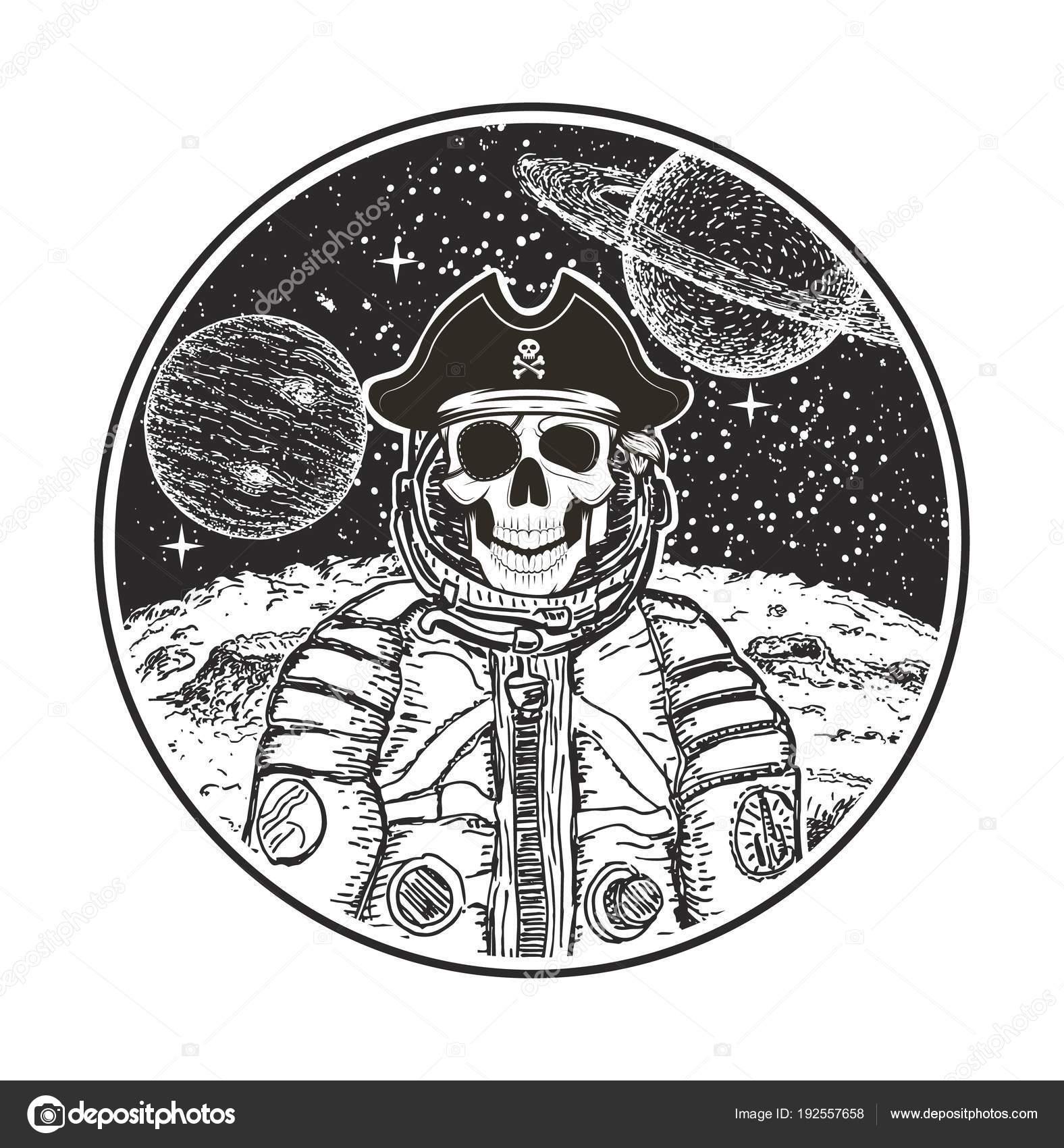 Astronauta espacio pirata vector moderna camiseta plantilla de ...