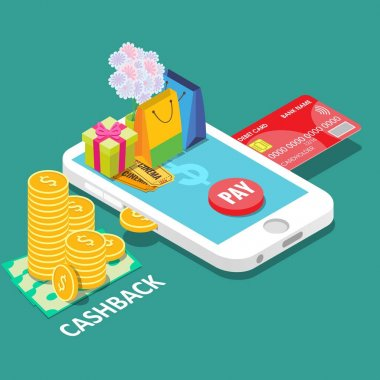 Cash back or money refund concept vector isometric illustration
