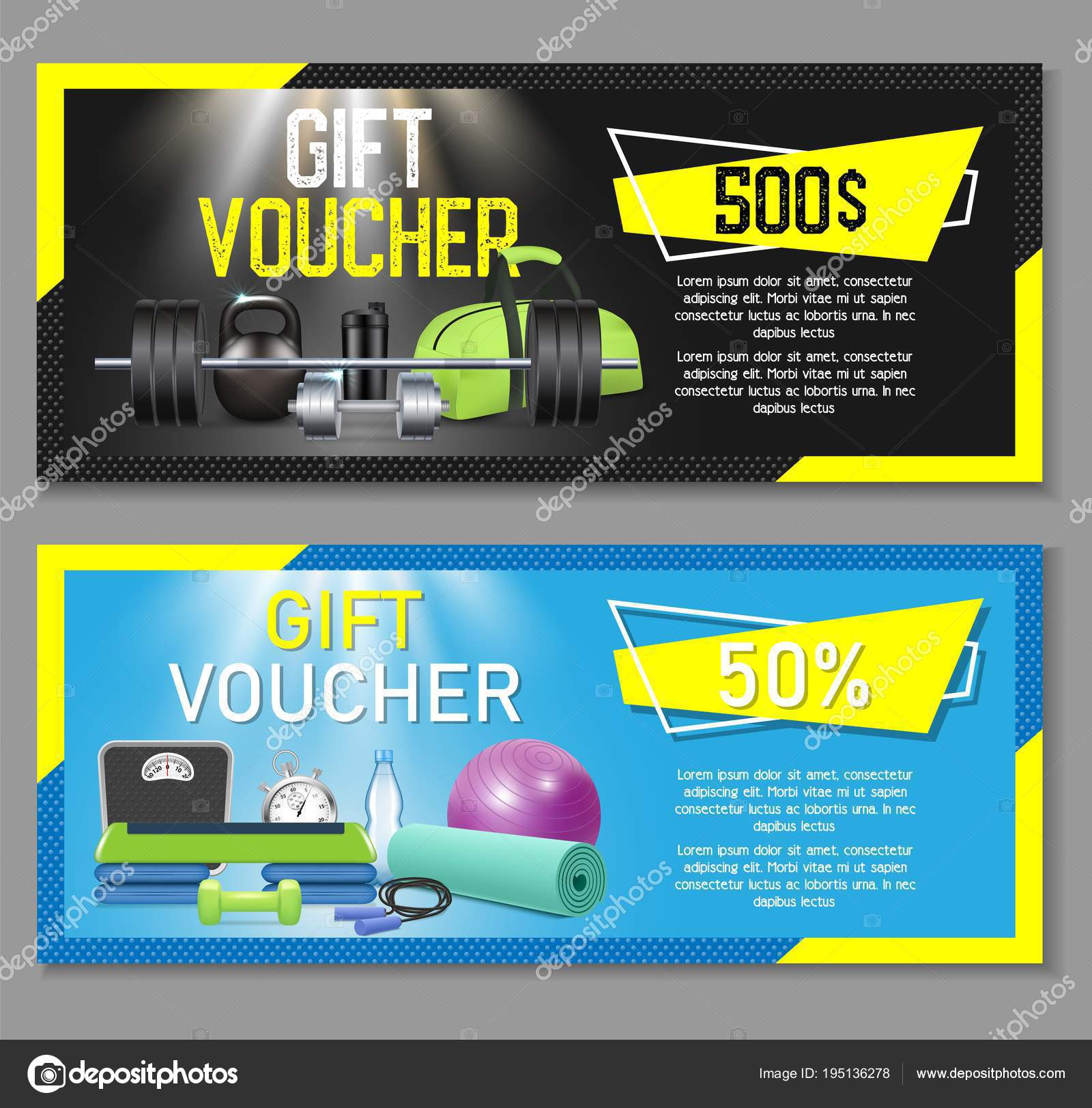 fitness gift voucher template set vector illustration gift certificate discount coupon voucher mockup set for gym fitness center or health club