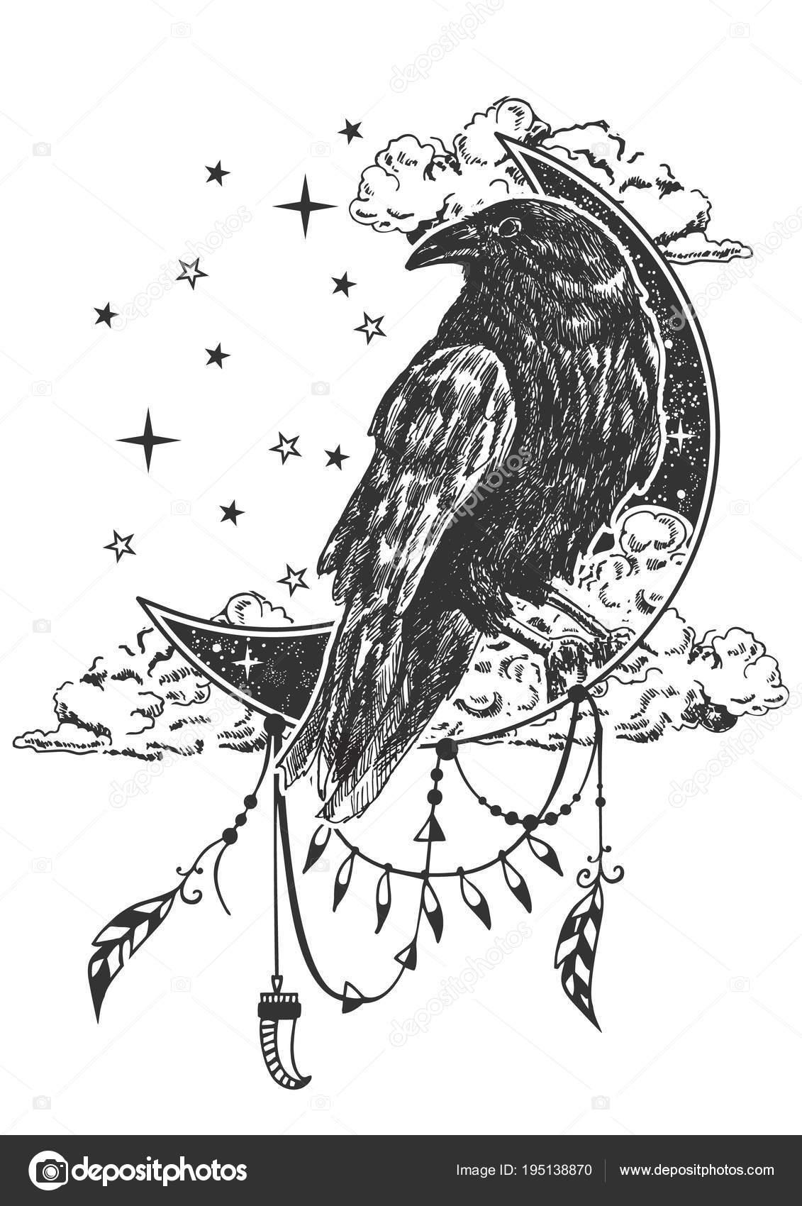 Vector Boho Raven Tattoo Or T Shirt Print Design Stock Vector