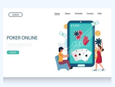 Online poker vector website landing page design template