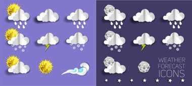 Weather forecast icon set, vector illustration in paper art modern craft style. Sunny, partly sunny, cloudy, mostly cloudy, rain, snow, storm, lightning etc. icon