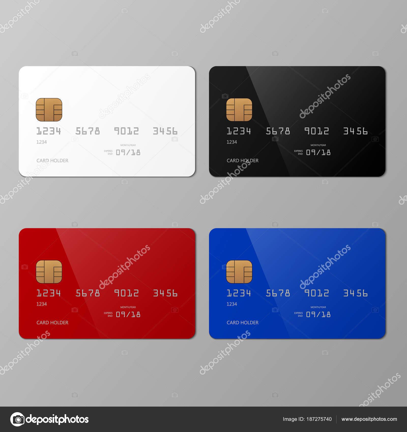 Realistische weiße, schwarze, rote und blaue Kreditkarte Mockup ...
