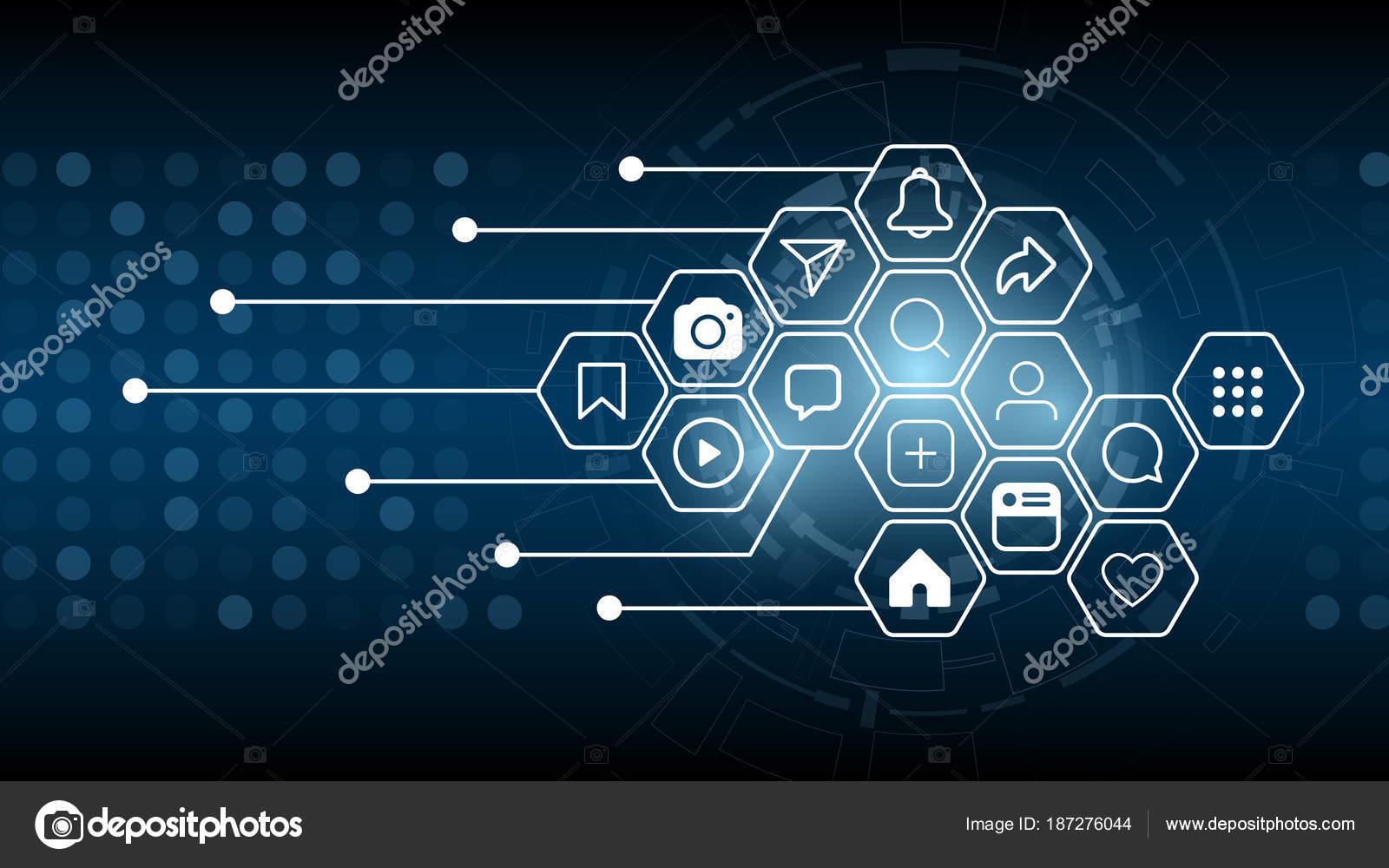 Social-Media-Symbol Verbindung und Innovation Konzept Hintergrund ...