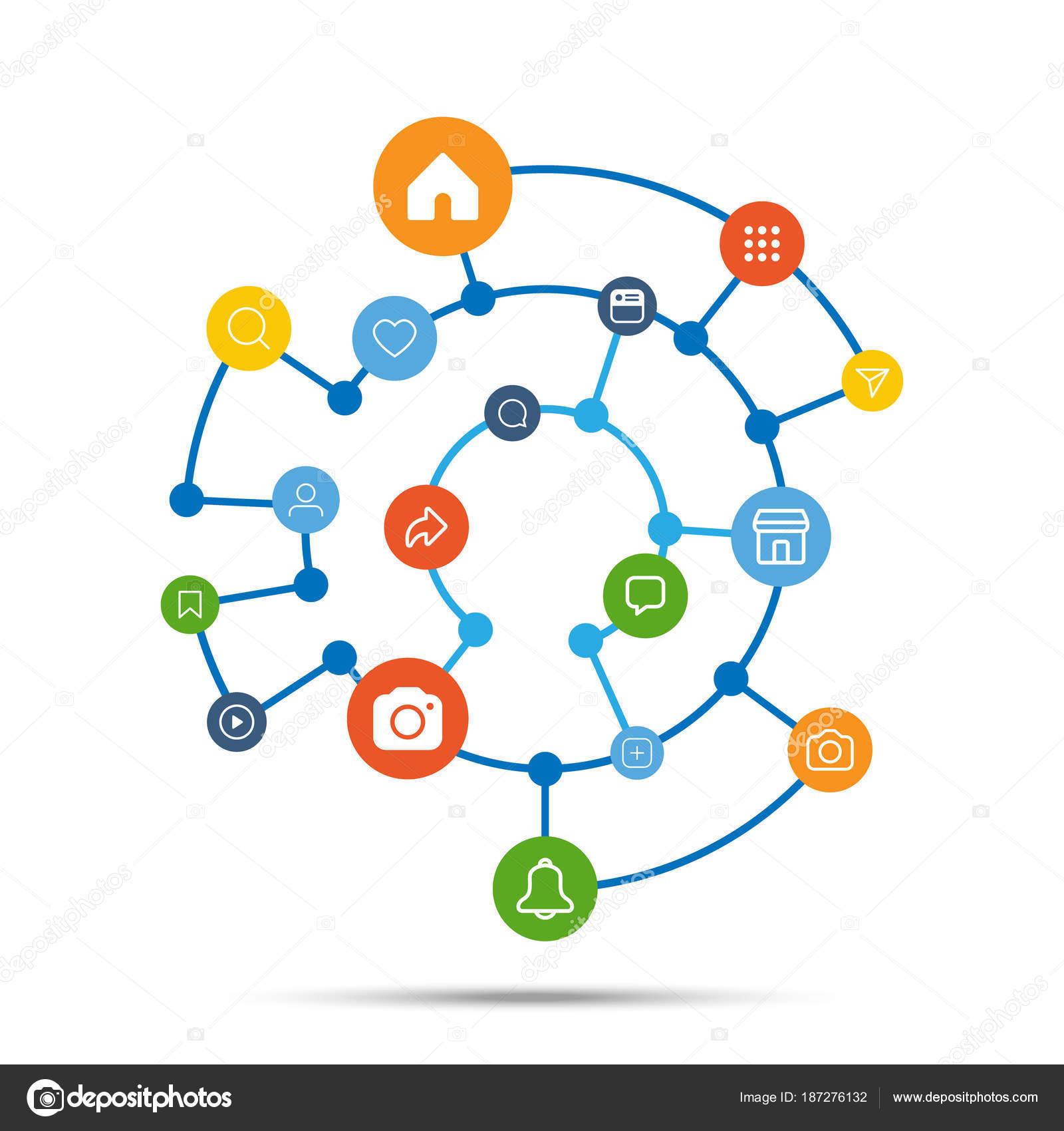 Social-Media-Symbol Verbindung Konzept, Vektor-illustration ...