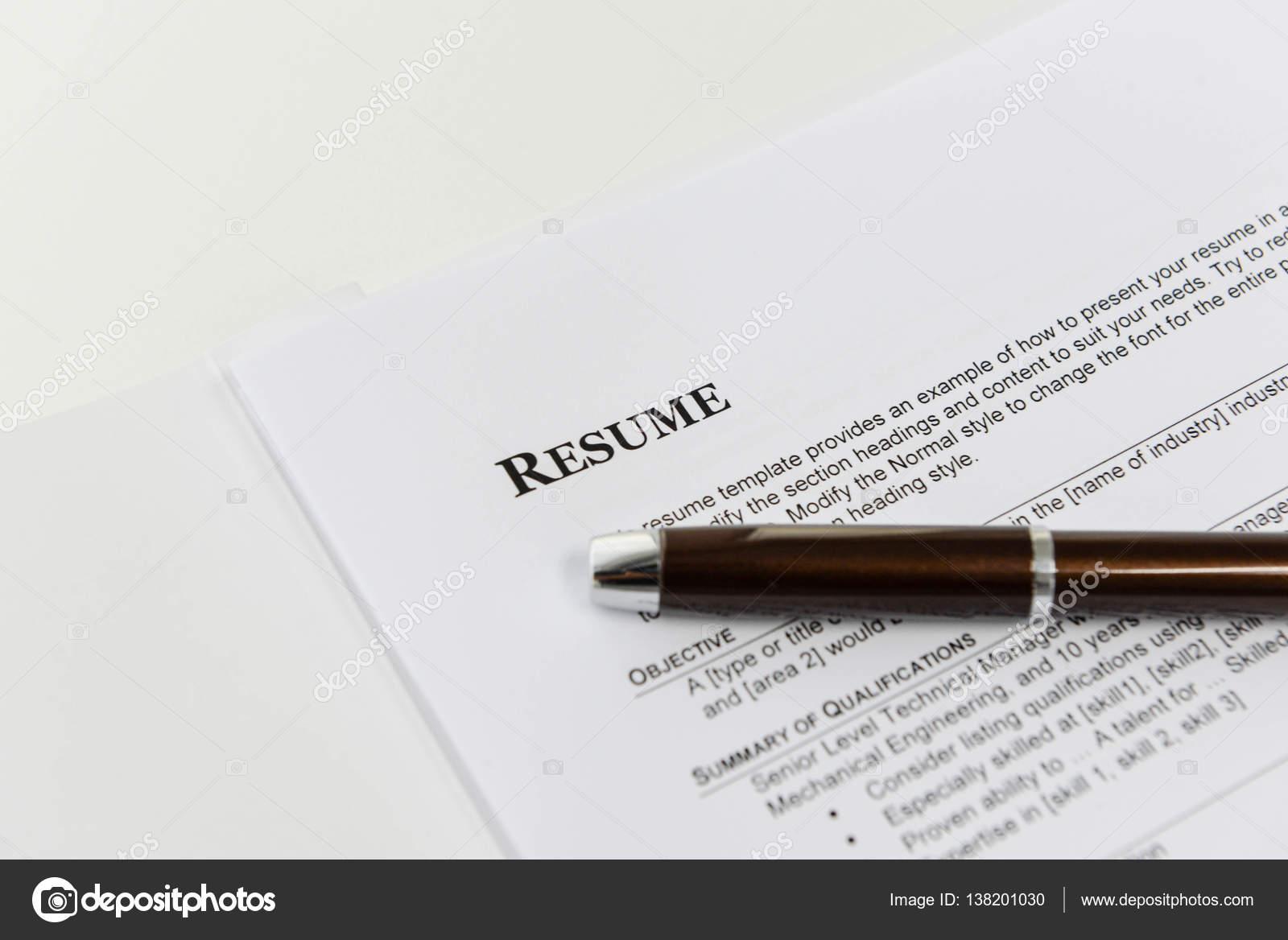 Reanudar la plantilla para entrevista de trabajo — Fotos de Stock ...