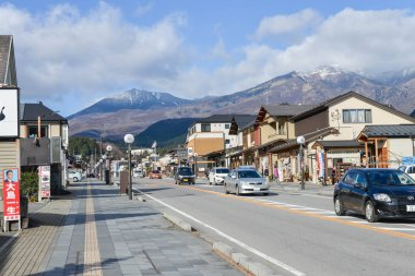 Nikko city landscape with mountain view background