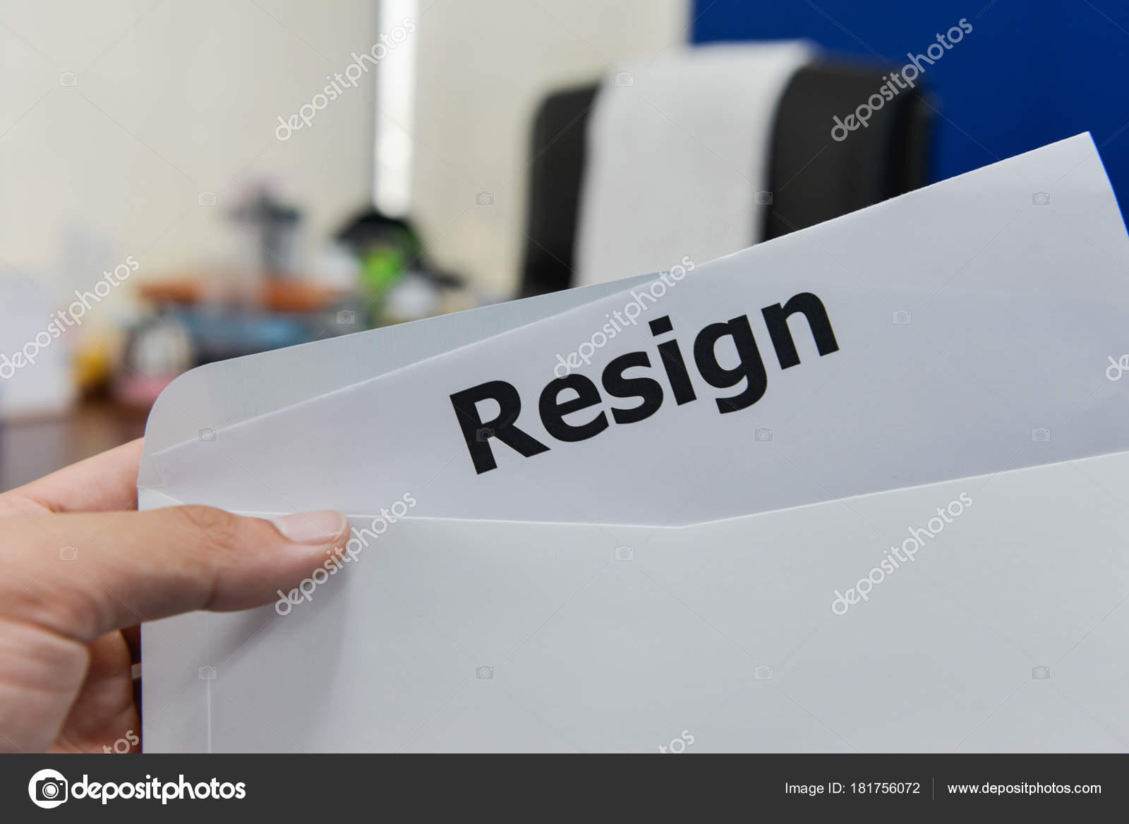 hand hold resignation letter submit resign stock photo
