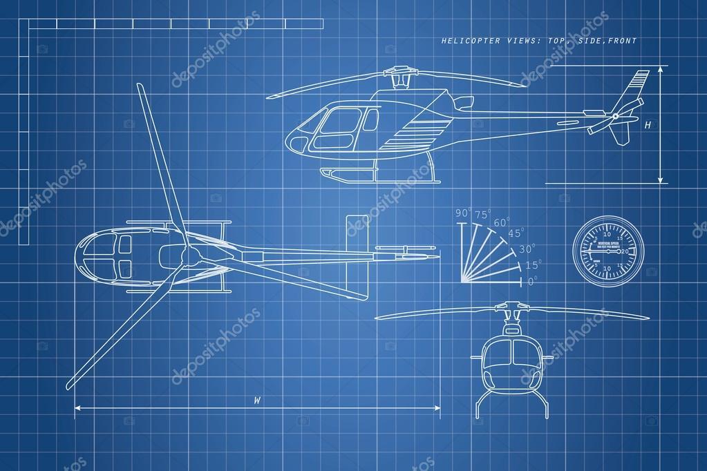 technische zeichnung hubschrauber auf blauem grund drei ansichten stockvektor shain 124928706. Black Bedroom Furniture Sets. Home Design Ideas