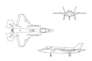 Outline drawing of military aircraft on white background. Top, s