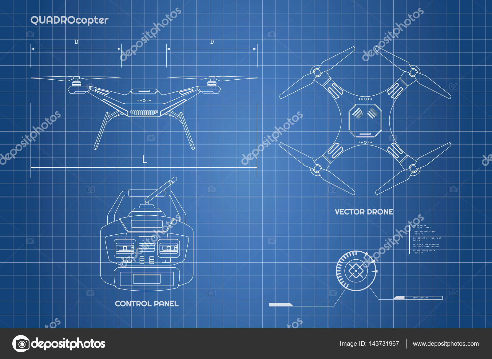 Drawing of drone industrial blueprint the control panel for Blueprint photo gallery