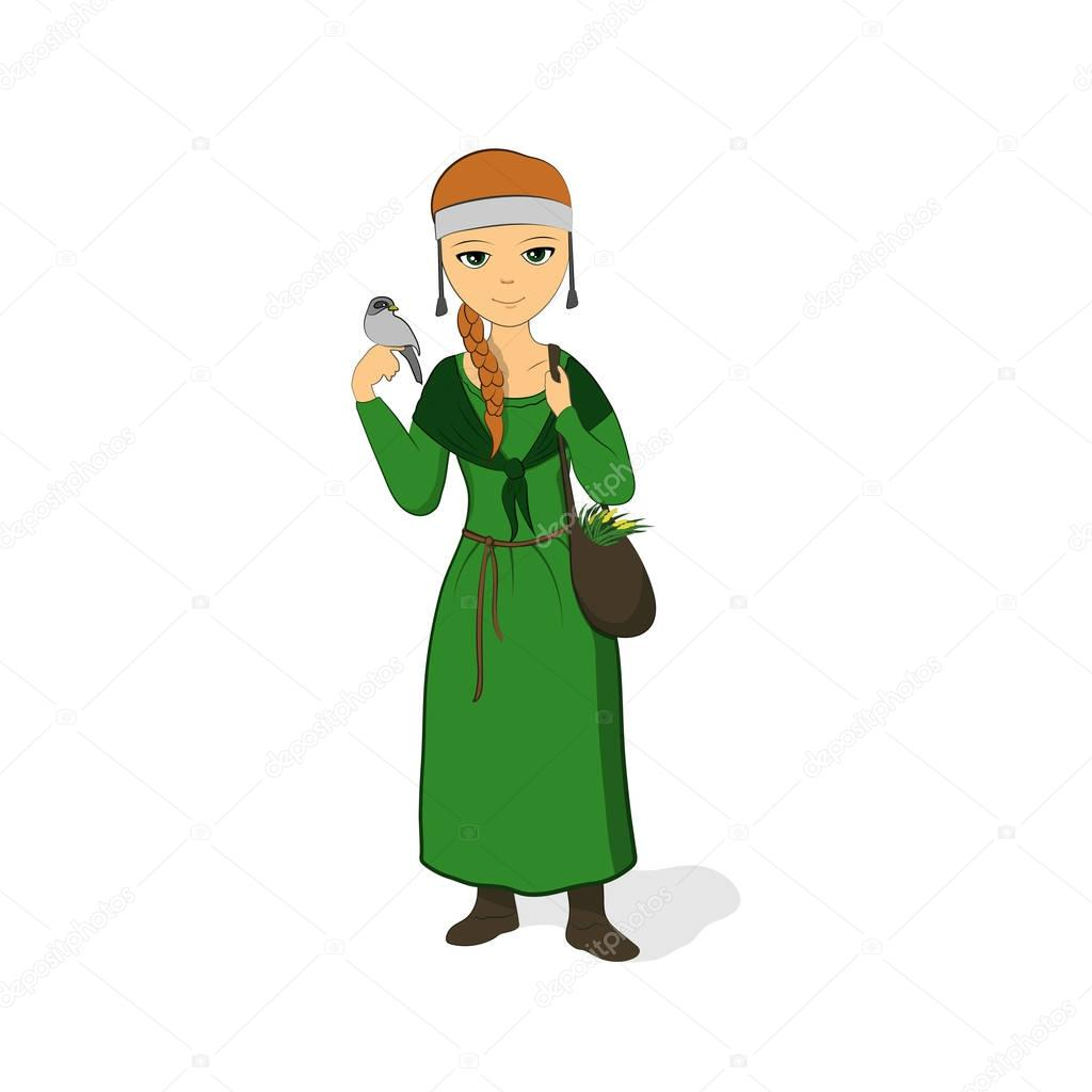 The girl is a healer in a green dress. Herbalist with a bag. Cleric with a bird on her arm