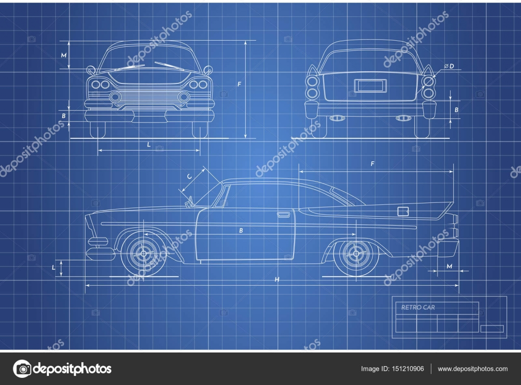 Engineering blueprint of retro car. Vintage cabriolet. Front, side ...