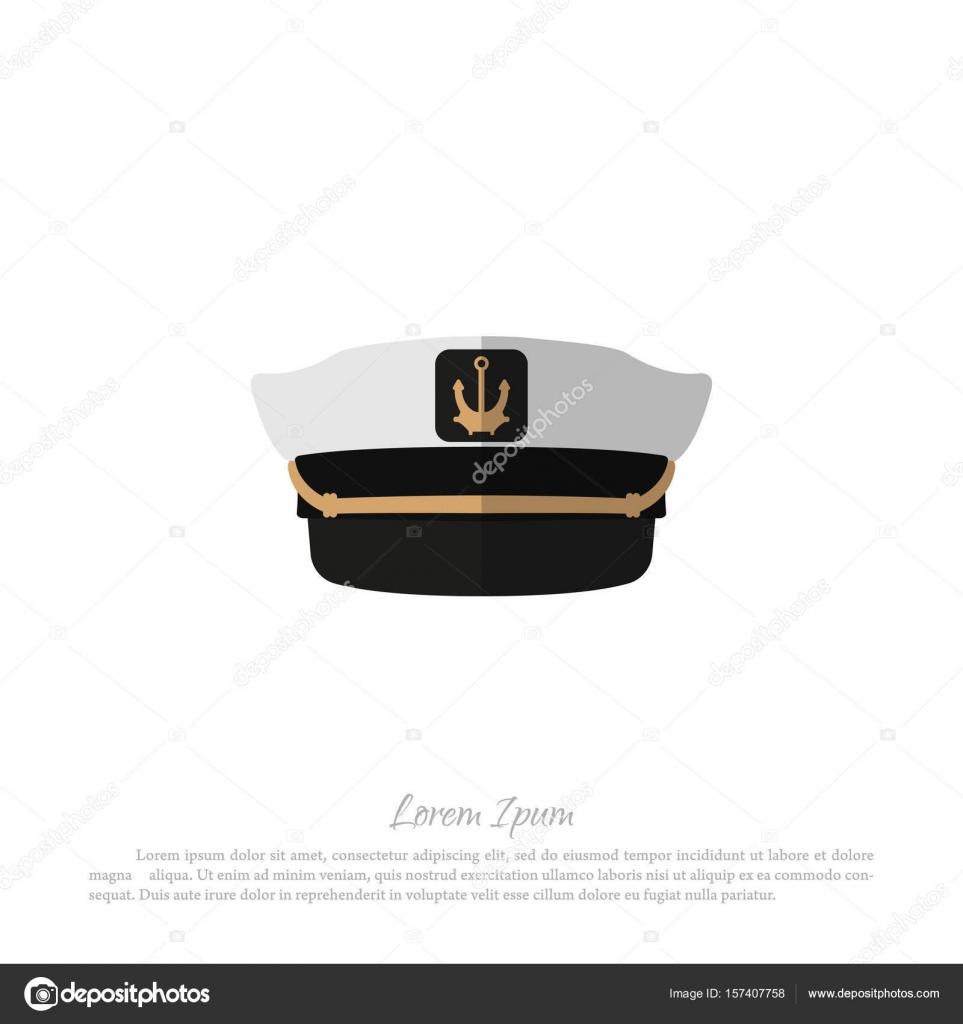 1fcdeeae2082f Sombrero del capitán sobre un fondo blanco. Icono de gorro de marinero en  estilo plano