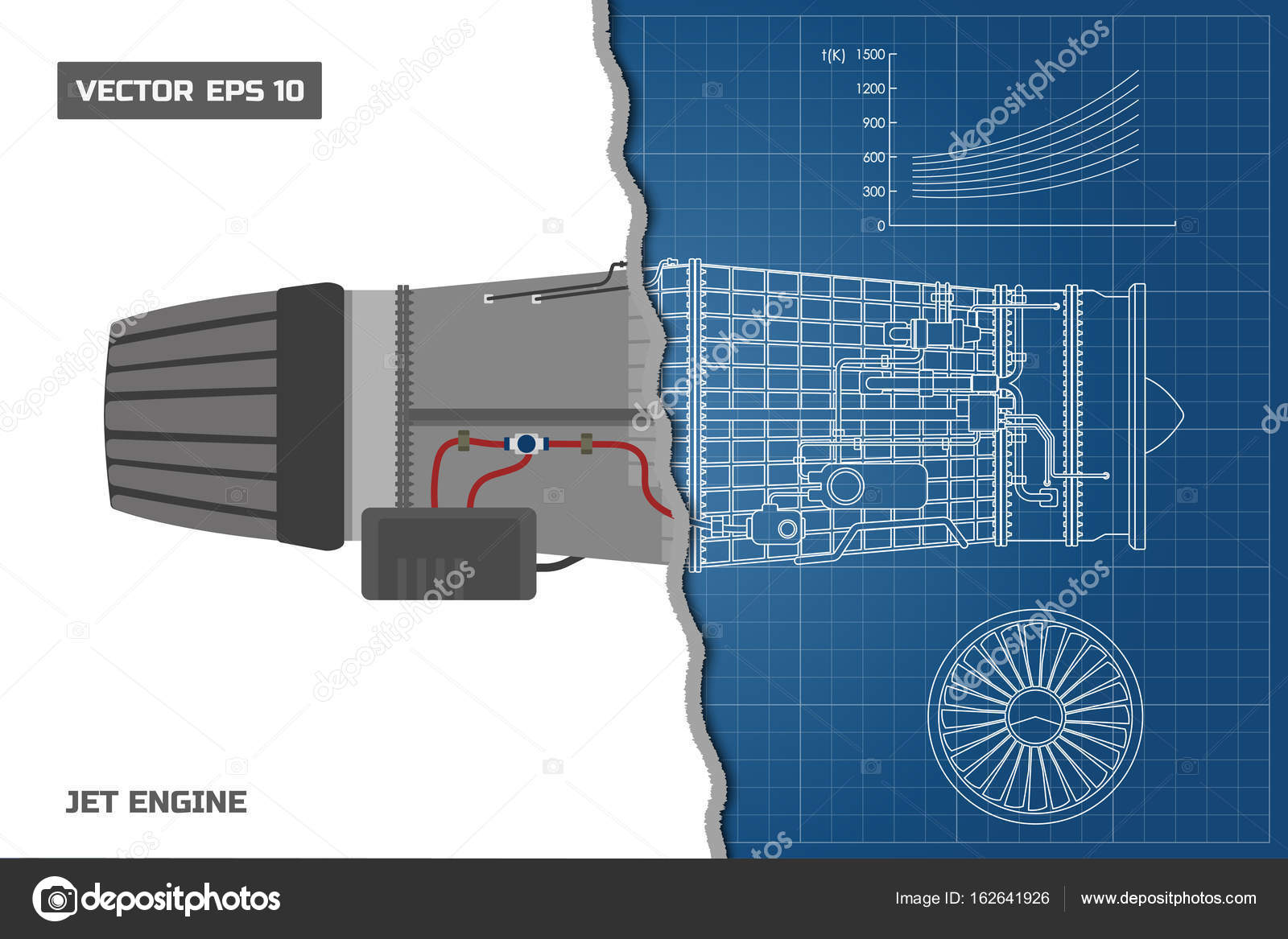 Jet engine in a outline style. Industrial vector blueprint. Part of ...