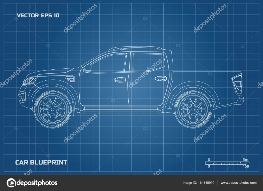 Drawing of the car on a blue background side view of pickup drawing of the car on a blue background side view of pickup industrial blueprint malvernweather Gallery