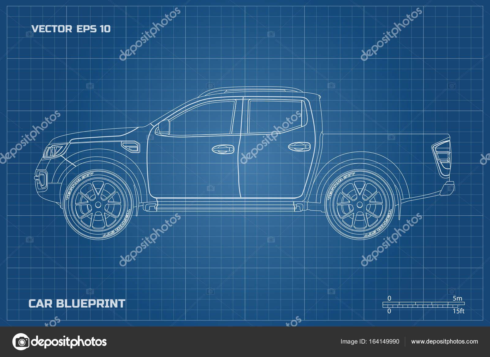 Zeichnung des Autos auf blauem Grund. Seitenansicht der Abholung ...