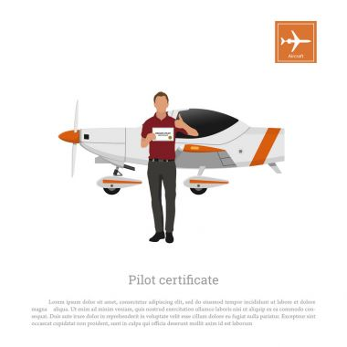 Flying academy. Aviator and airplane on a white background. Training aircraft. Man with a pilot's certificate