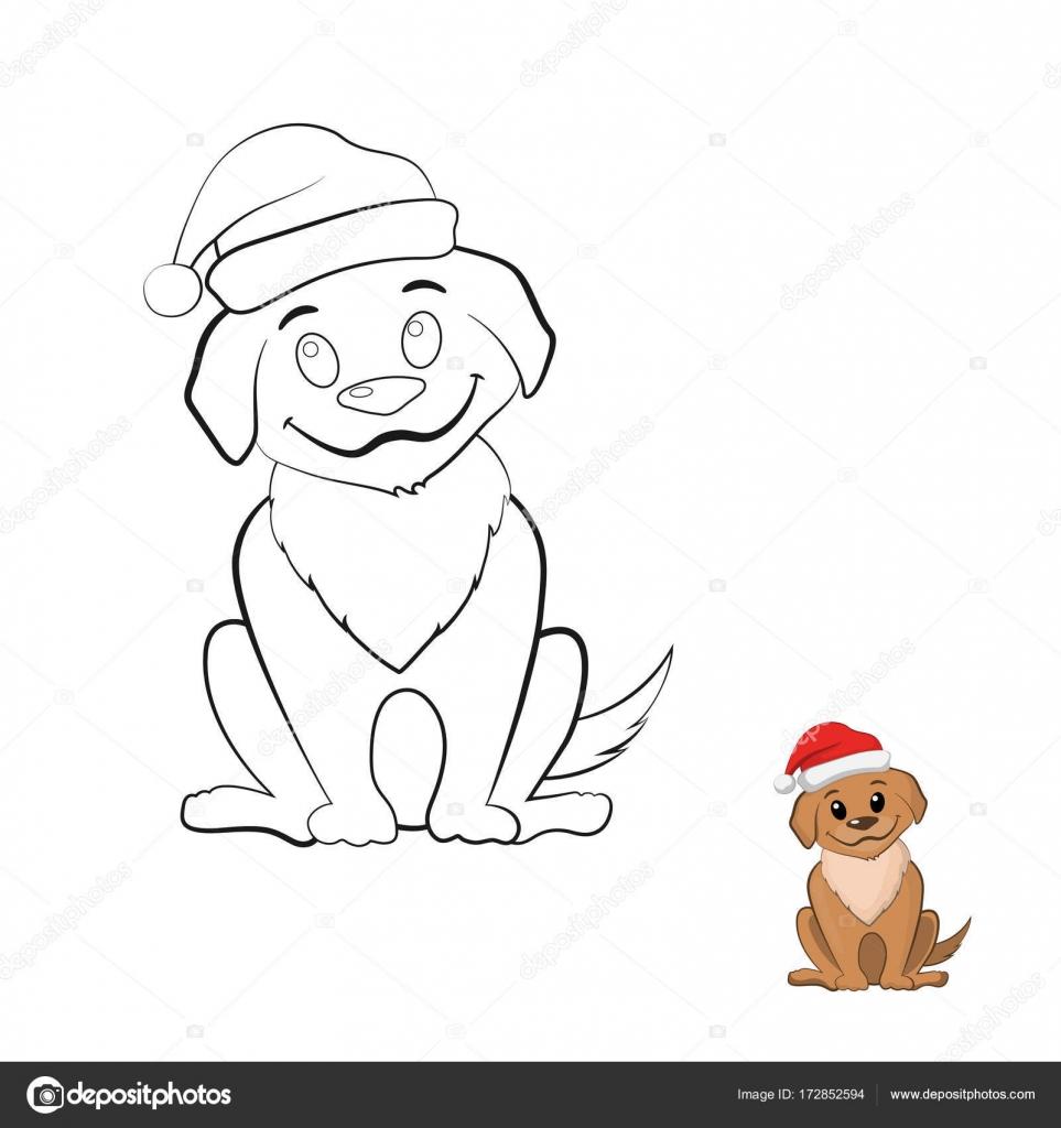 Libro de colorear con cachorro en estilo de dibujos animados. Perro ...