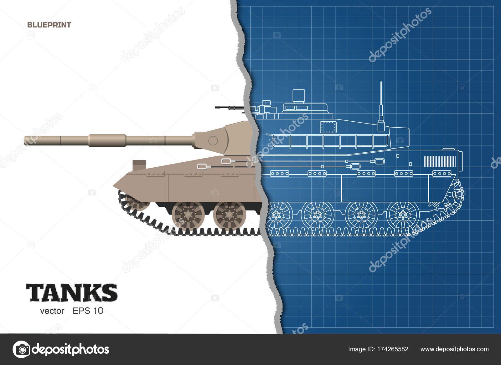 Blaupause des realistischen Tank. Oben, vorne und seitlich sehen ...