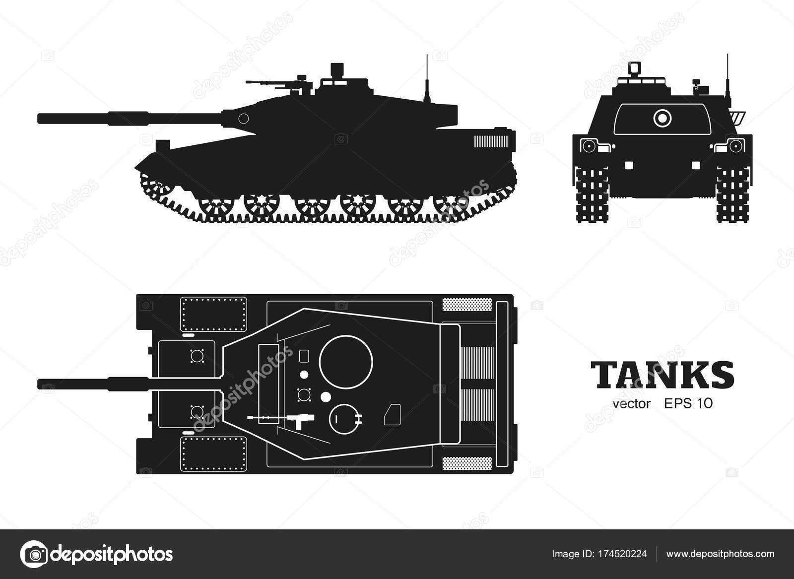 Silhouette of realistic tank blueprint armored car on white silhouette of realistic tank blueprint armored car on white background top side front views army weapon war camouflage transport vector illustration malvernweather Images