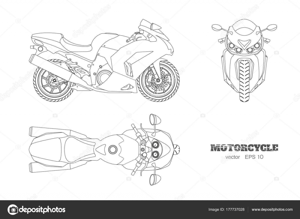 outline drawing of motorcycle  side  top and front view