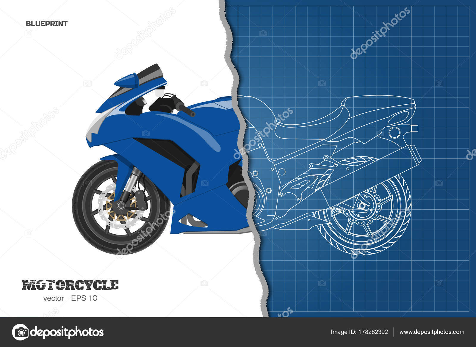 Blue motorcycle in realistic style side view detailed outline blue motorcycle in realistic style side view detailed outline blueprint of motorbike stock malvernweather Images