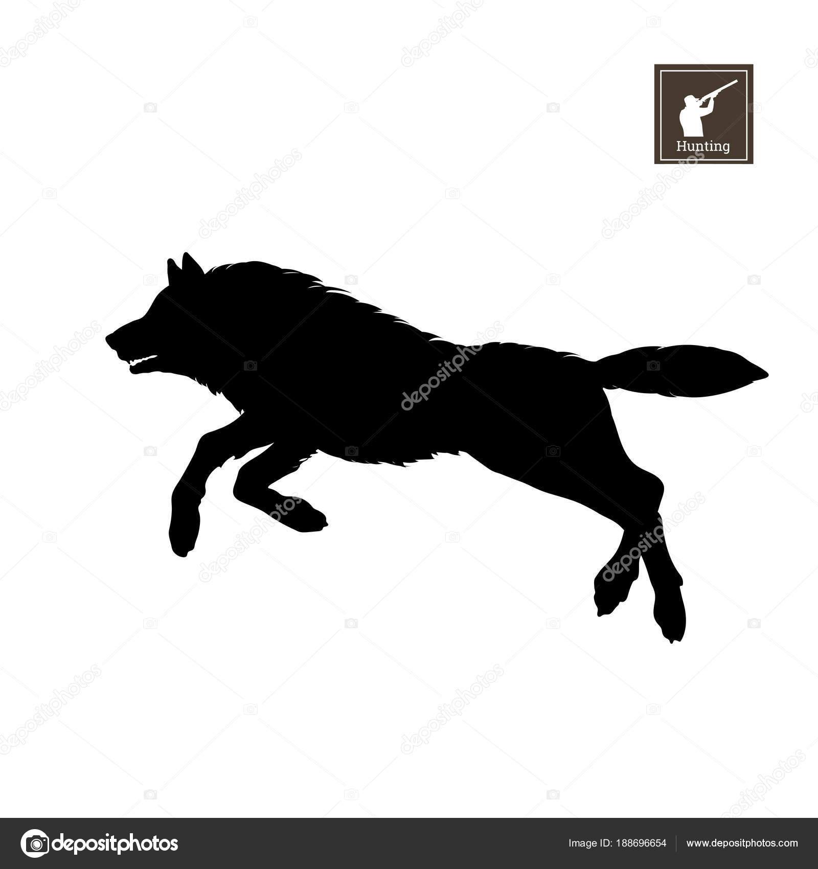 silhueta negra de lobo correndo no fundo branco animais da floresta