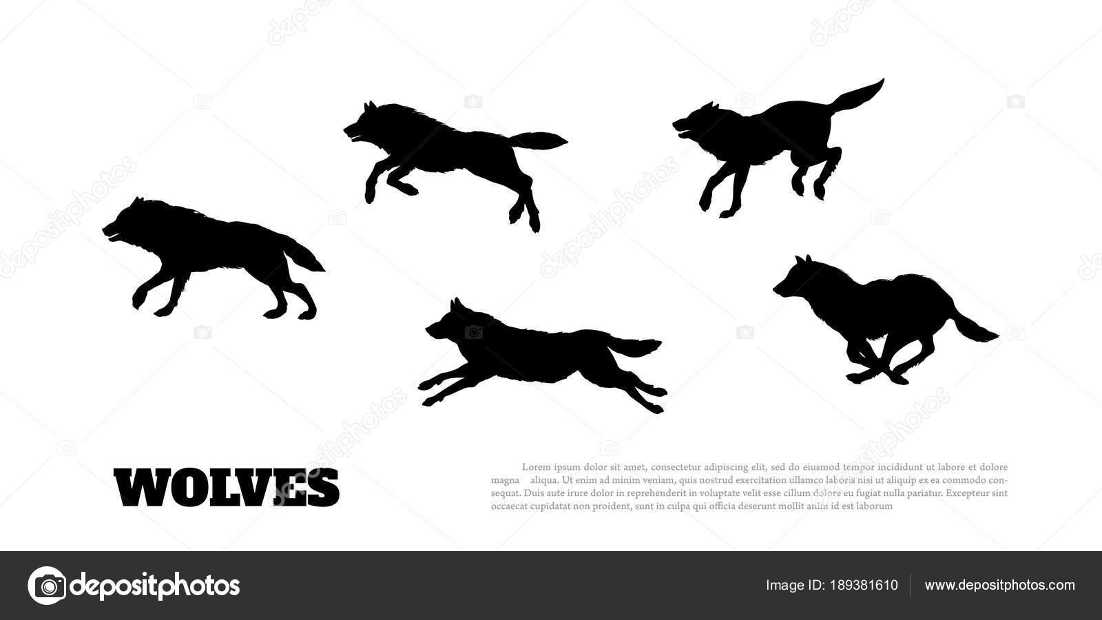 Silueta Lobo: Vector: Silueta Lobo Corriendo