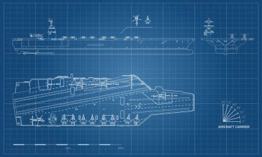 Blueprint of aircraft carrier. Military ship. Top, front and side view. Battleship model. Warship in outline style