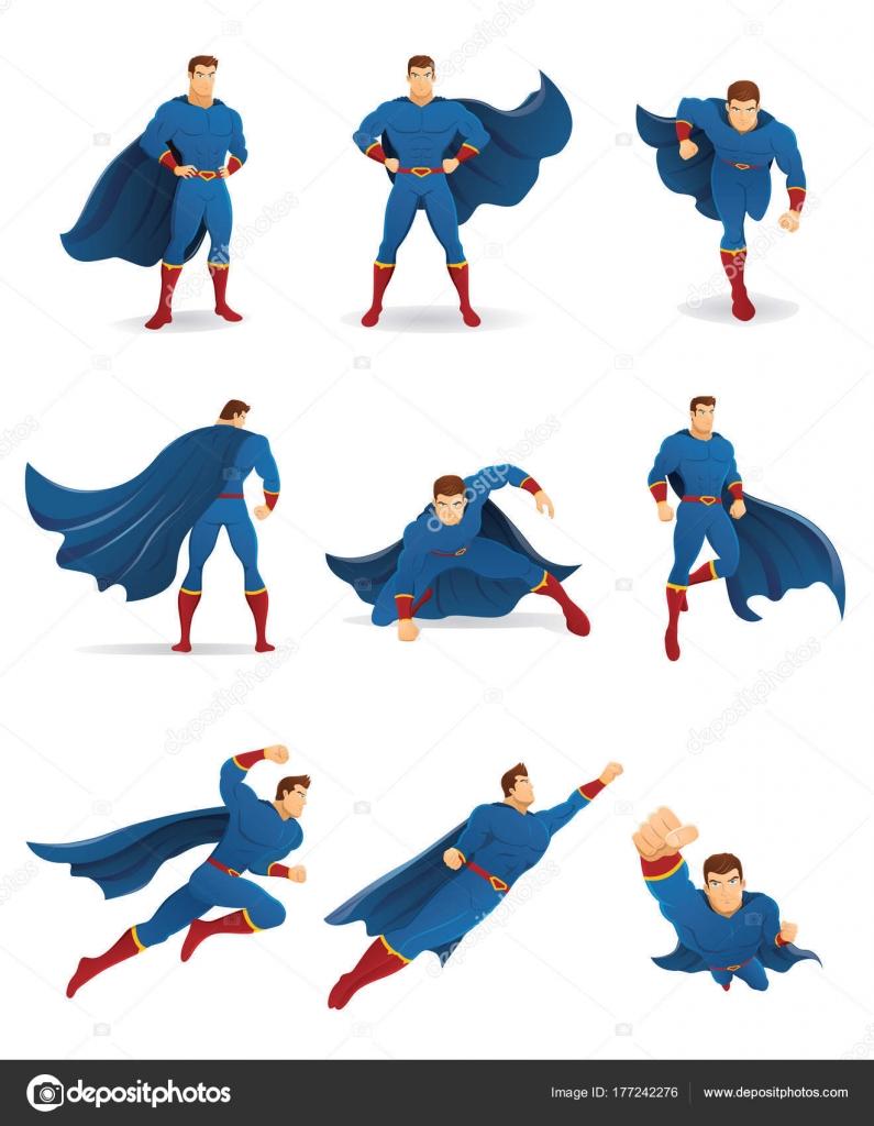 Superhelden Aktion Reihe Von Superhelden Charakter Verschiedenen ...