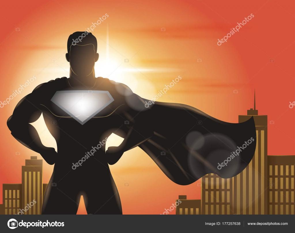 Superheld Mit Cape Winken Die Wind Silhouette — Stockvektor ...