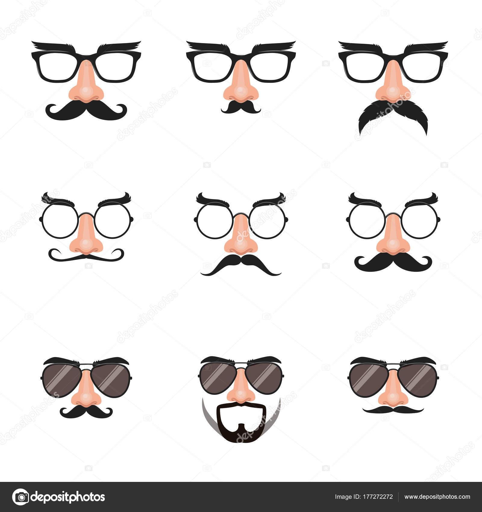 4e9c12c7d3f Fake Nose Glasses Set Mustache Eyebrows — Stock Vector © bonezboyz ...