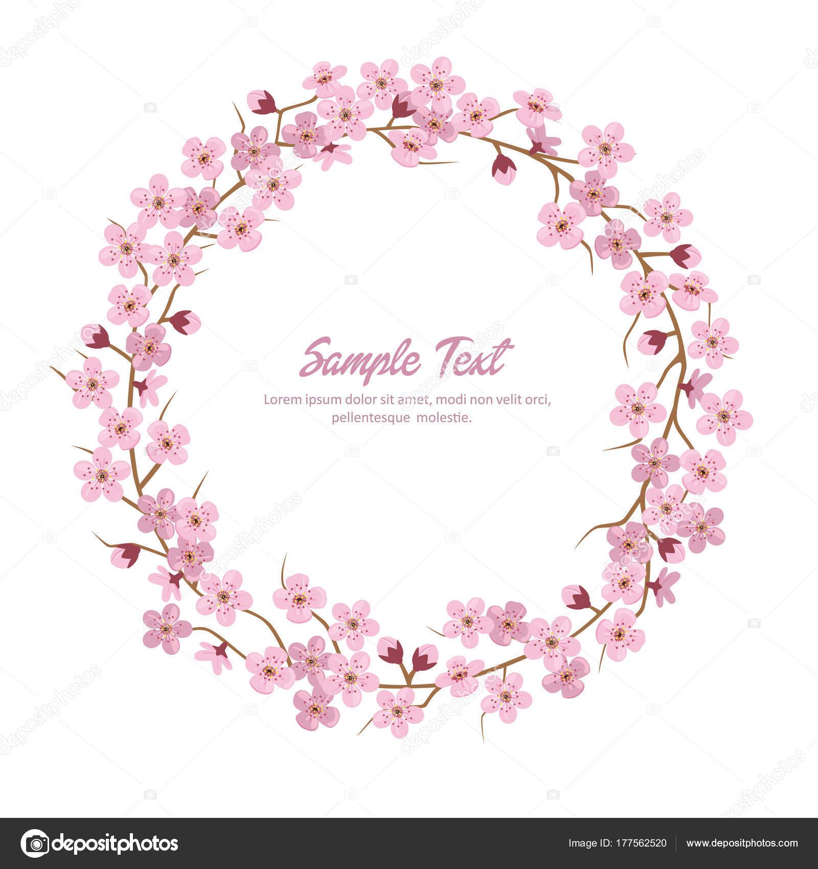 Sakura Flower Wreath Round Frame Vector By Bonezboyz
