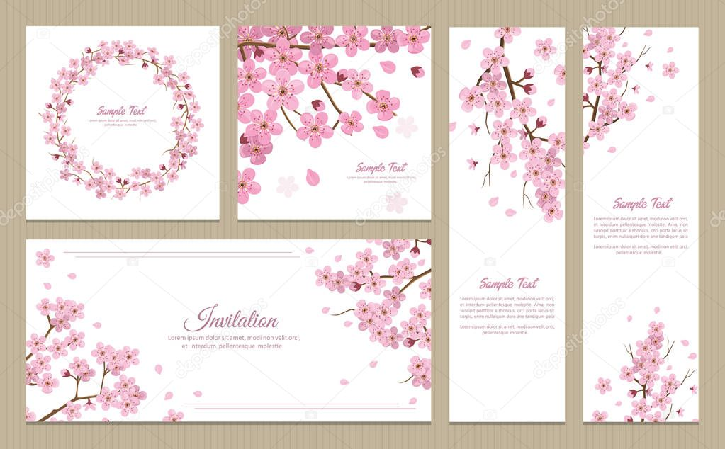 set sakura greeting cards banners invitation card — stock