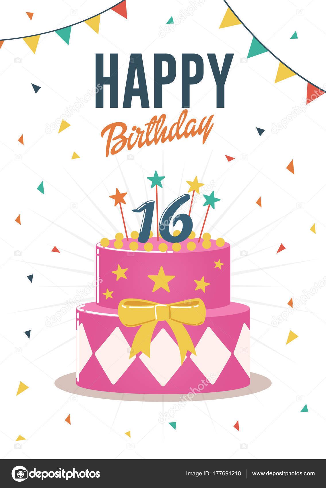 甘い誕生日挨拶と招待状カード バースデー ケーキのイラスト ストック