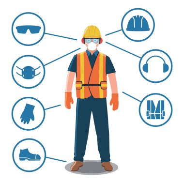 Worker with Personal Protective Equipment and Safety Icons stock vector